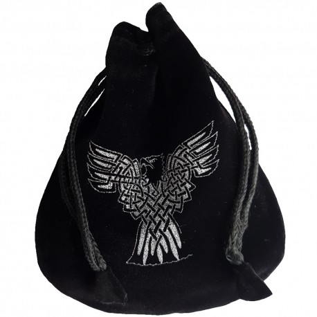 Black and silver Celtic Eagle rune pouch with drawstring closure, shown closed holding a stone rune set.