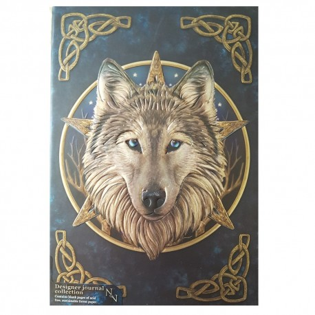 Wild One wolf journal by Lisa Parker five inch by seven inch with adhesive binding front cover.