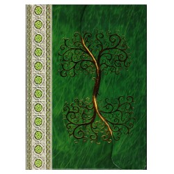 Showing the front cover details of the green Yggdrasil journal