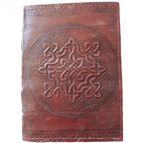 Brown leather Celtic knotwork journal with large circular embossed knotwork design with top and bottom floral border.