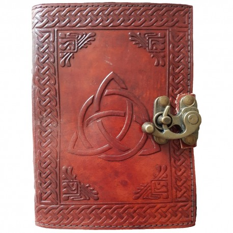 Brown Leather Triquetra Journal is embossed with a large triquetra design surrounded by a Celtic knotwork border.