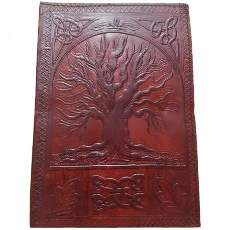 Brown Leather Yggdrasil Journal with embossed image of Yggdrasil, leaf and Celtic knotwork designs.