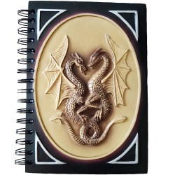 Resin covered Dragon journal features a brown and black raised double dragon design on its cover.