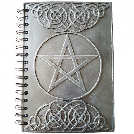 Hardcover Celtic knotwork journal made from resin with raised pentagram and Celtic knotwork design.