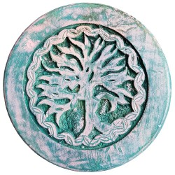 Carved with an image of Yggdrasil this green altar table is accented with varying colors.
