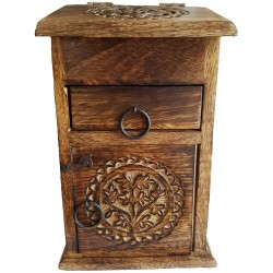 The Yggdrasil altar cupboard is engraved with the images of Yggdrasil on the top, sides and front and has three compartments.