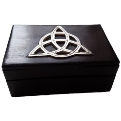 The four by six inch Silver Triquetra Box features a hinged lid.