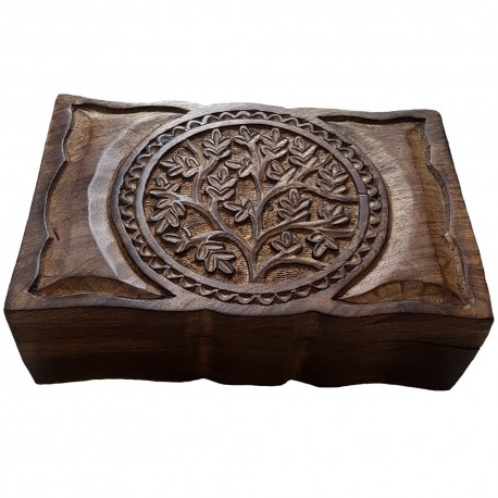 A front angled view of the large Yggdrasil altar box showing the scalloped shaped edge that is featured on the front and back.