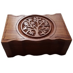 Front of the small Yggdrasil altar box has a scalloped edge while the top features an engraved image of Yggdrasil.