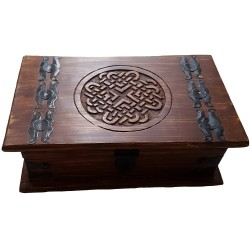 The lid of the Celtic knot box has a metal latch closure that can be locked.