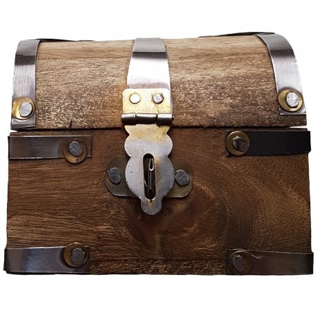 The small chest has a metal latch closure that can be locked.