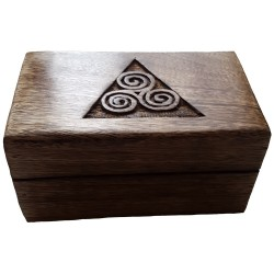 The wooden Triskele box measures four inches by six inches.