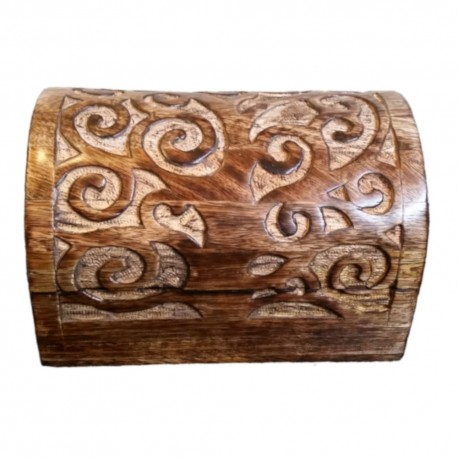 The wooden Yggdrasil chest features the tree of life carved over the front, top and back of the chest.